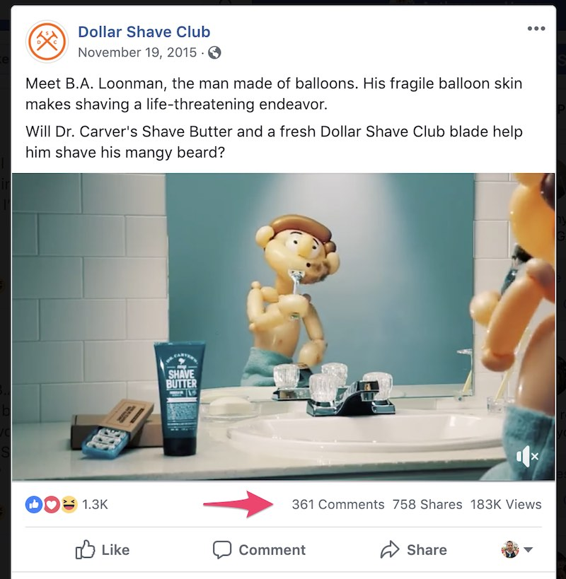 Facebook Video for Dollar Shave Club