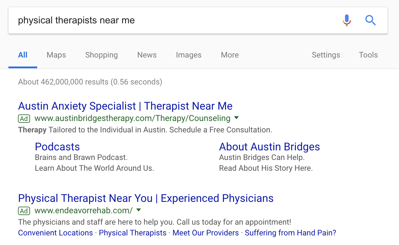Google Search Result Page for Physical Therapists Near Me