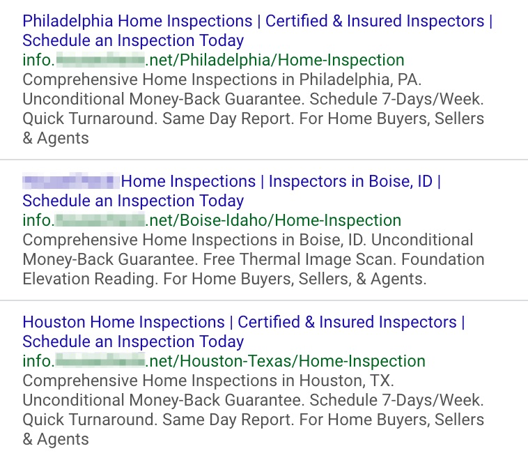 google search ads for home services company