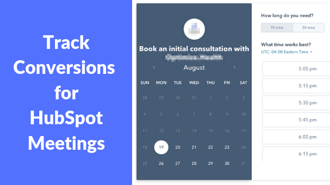 How to track conversions for hubspot meetings